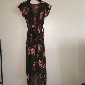 Dresses & Skirts - Flower wrap high low dress